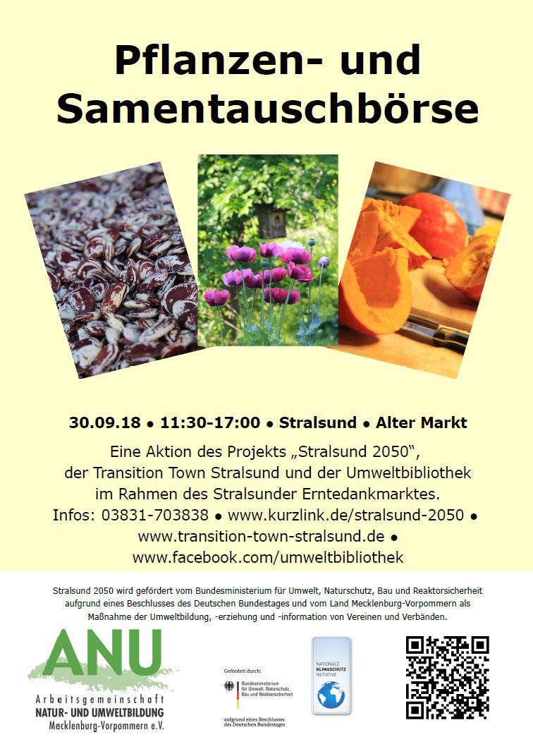 Pflanzen- und Samentauschbörse anlässlich des Stralsunder Erntedankmarktes am 30.09.2018 11:30 - 17 Uhr auf dem Alten Markt